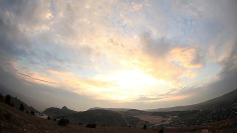 sunset in the mountains. Balaklava, Crimea, Ukraine Stock Video Footage