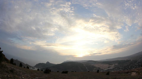 Timelapse sunset in the mountains. Balaklava, Crimea, Ukraine Footage