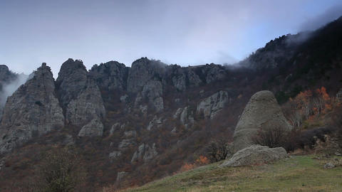 Movement of the clouds on the mountain Demerdji. Alushta, Crimea, Ukraine (TimeLapse) Footage