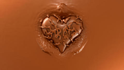 Sweet love: Heart shape splashes on the hot chocolate surface Animation