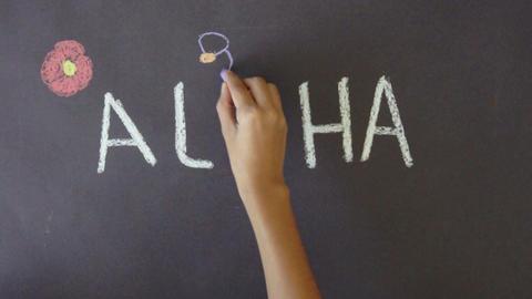 Aloha Hawaii Chalk Drawing Stock Video Footage
