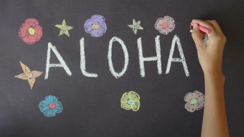 Aloha Hawaii Chalk Drawing Footage