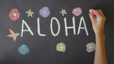 Aloha Hawaii Chalk Drawing Footage