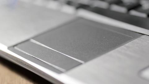 Laptop computer mousepad CU Stock Video Footage