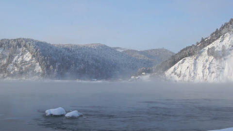 Yenisei River Winter Landscape 01 Footage