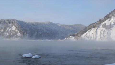 Yenisei River Winter Landscape 01 Stock Video Footage