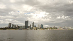 Perth City from across the Swan River on a Cloudy Day Stock Video Footage