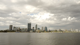 Perth City from across the Swan River on a Cloudy Day Footage