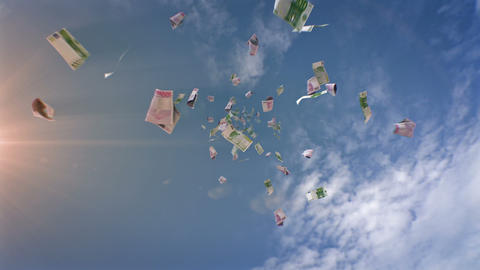 Euros Falling From the Sky Stock Video Footage