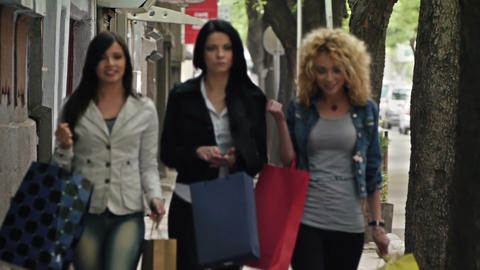 Girls Going Shopping stock footage