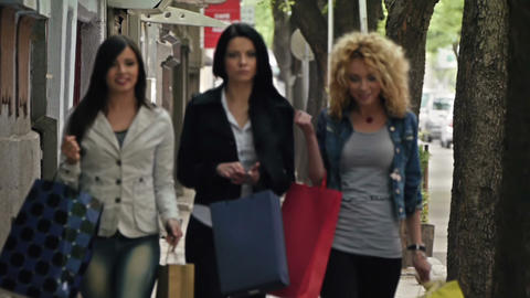 Girls Going Shopping Stock Video Footage