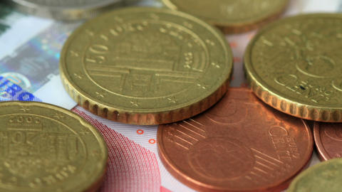 Euro Coins On Euro Notes Footage