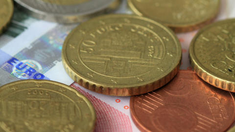 Euro Coins On Euro Notes Stock Video Footage