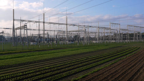 Aerial - Low angle view of electric power substation Footage