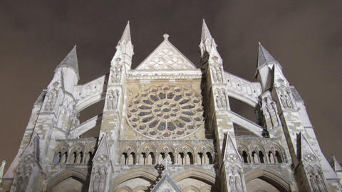 Time-lapse of the North Entrance of Westminster Abbey in London. Cropped Footage
