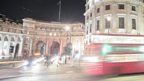 Panning time-lapse of traffic around Charing Cross in London Footage