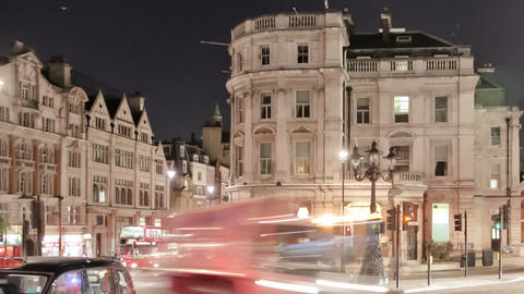 Time-lapse of traffic at Charing Cross in London. Cropped Footage