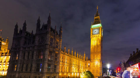 Panning time-lapse of Big Ben and Westminster in London Footage