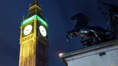 Time-lapse of Big Ben in London. Cropped Footage