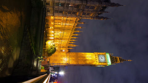 Vertical time-lapse of Big Ben and Westminster in London Footage