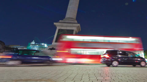 Tracking time-lapse of Nelson's Column in Trafalgar Square, London. Cropped Footage