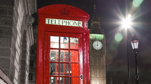 Tracking time-lapse of Big Ben behind a telephone booth in London. Cropped Footage