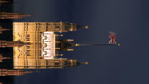 Vertical time-lapse of the Victoria Tower at Westminster Palace in London Footage