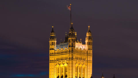 Time-lapse of Victoria Tower at Westminster Palace in London. Cropped Footage
