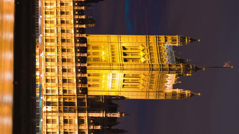 Vertical time-lapse of Victoria Tower at Westminster Palace in London Footage