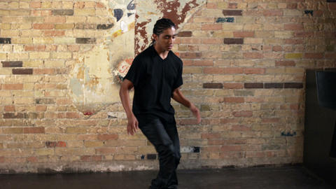Boy hip hop dancing filmed in slow motion Footage