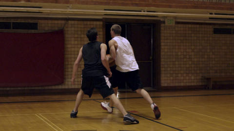 Layup successful in one-on-one basketball Footage