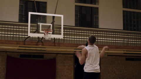 Successful three point shot in one-on-one basketball Footage