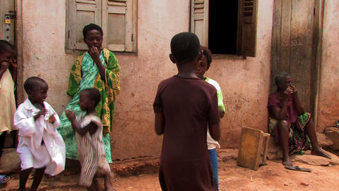 Kids playing a clapping game in a small village in Ghana Footage