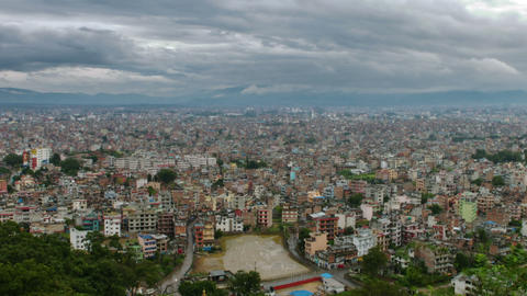 Panning shot of Time-lapse of the Kathmandu, Nepal cityscape Footage