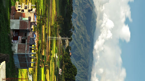 Vertical shot of Time-lapse of the countryside of Nepal Footage