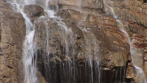 Bubbling Stream Of A Mountain Waterfall Splashing Over Stones Falls Footage
