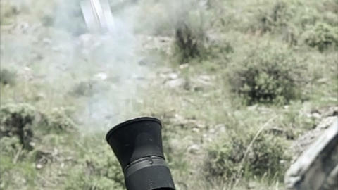 Slow motion clip of mortar firing Footage