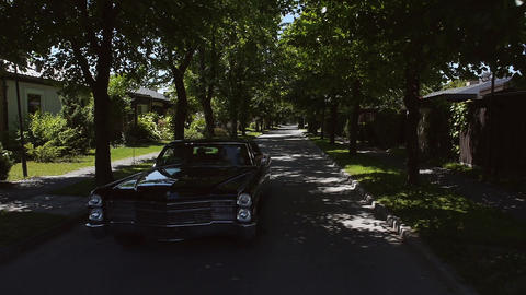 Aerial: old, black cadillac car driving through tree lined road Footage