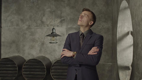 Pensive entrepreneur looking up in deep thoughts GIF