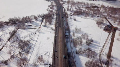 City highway in the winter. Aerial top view Live Action