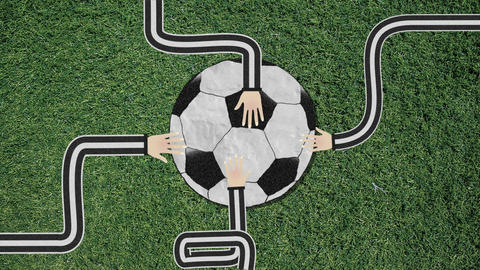 Long Hand Assembling a Soccer Ball Cutout Retro Style With Confetti Footage