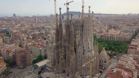 Aerial view. Sagrada Familia, Barcelona Footage