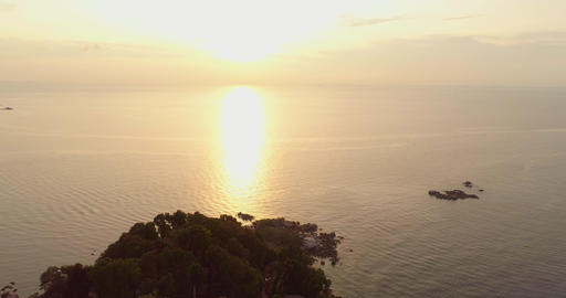 Tropical island with bungalows on the sunset Footage