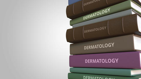 Book with DERMATOLOGY title, loopable 3D animation Live影片