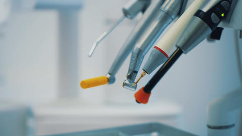 Dentistry, medicine, medical equipment. Dental instruments. Concepts - close-up Live Action