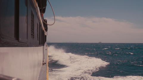 Large Cruise Ship At Open Sea. Waves Splashing On The Side Of Ship. In 4k Live Action