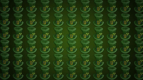 Green leprechaun Hats St. Patricks Background Animation