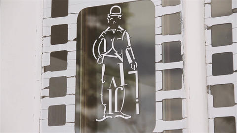Chaplin Figure Over the Entrance of A Cinema in a Small Argentine Town Footage