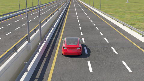 3d animation of an electric Tesla model 3 driving on highway Animación