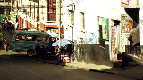 Street In La Paz, Capital Of Bolivia (South America) Footage